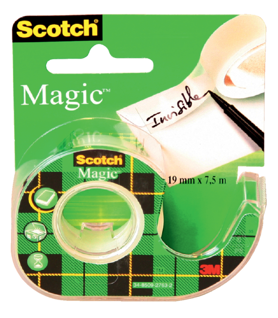 Plakband Scotch Magic 810 12mmx10m onzichtbaar  + afroller