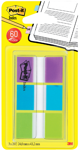 Indextabs 3M Post-it 680 24mmx43.2mm helder assorti