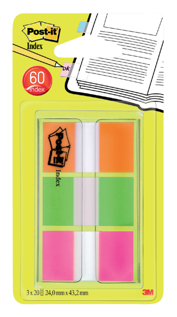 Indextabs 3M Post-it 680 24mmx43.2mm assorti