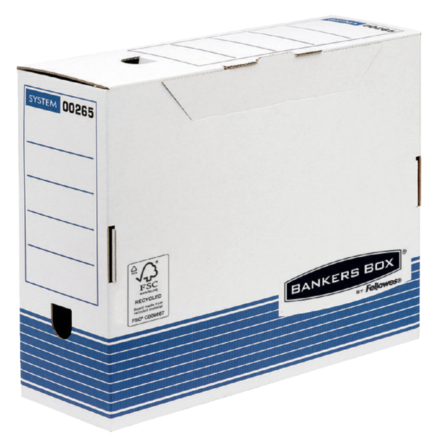 Archiefdoos Bankers Box System A4 100mm wit blauw