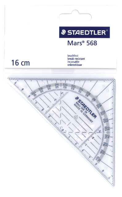 Geodriehoek Staedtler 568 160mm transparant