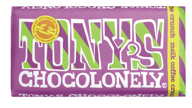 Chocolade Tony''s Chocolonely reep 180gr melk coffee crunch