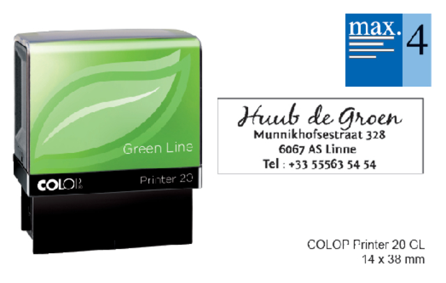 Tekststempel Colop 20 green line+bon 4regels 38x14mm