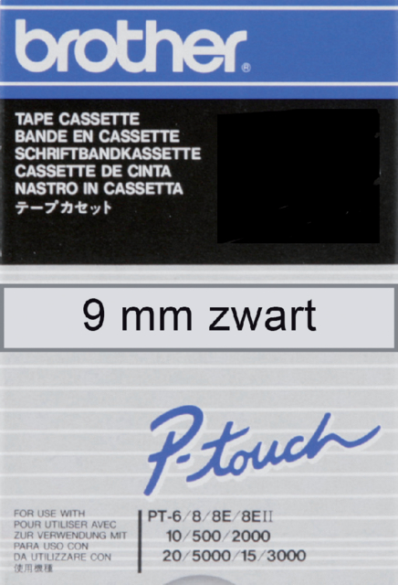Labeltape Brother P-touch TC-M91 9mm zwart op transparant