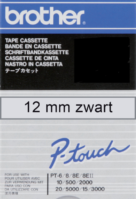 Labeltape Brother P-touch TC-101 12mm zwart op transparant