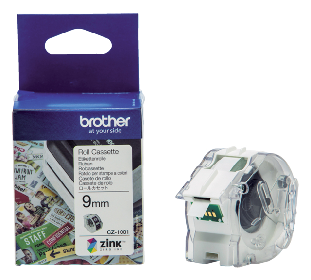 Labeletiket Brother CZ-1001 9mmX5m kleur opdruk