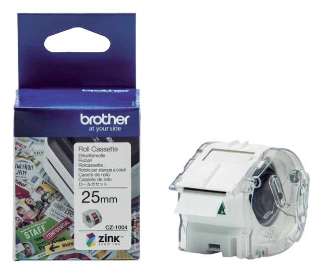 Labeletiket Brother CZ-1004 25mmX5m kleur opdruk
