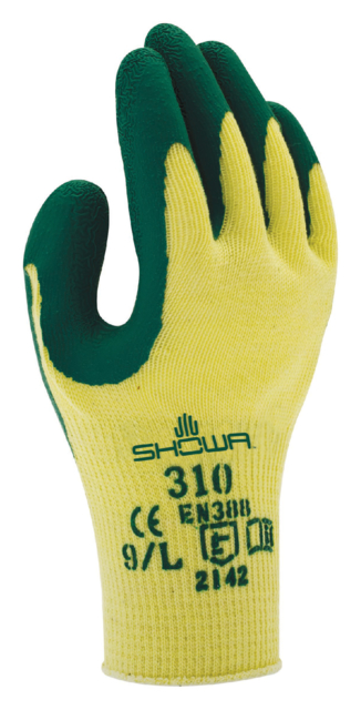 Handschoen Showa 310 grip latex groen/geel 9/large