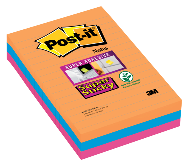 Memoblok 3M Post-it 4690 Super Sticky 101x152mm lijn Bangkok