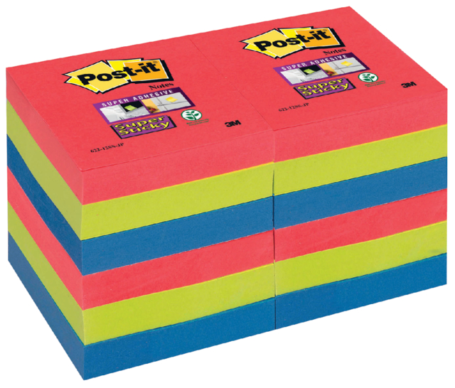 Memoblok 3M Post-it 622 Super Sticky 47.6x47.6mm Bora Bora